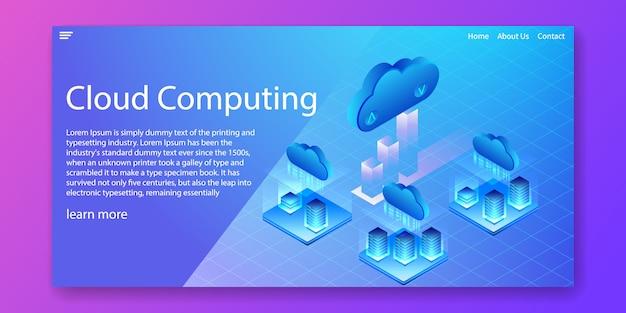 Concepto isométrico de la tecnología de cloud computing Vector Premium