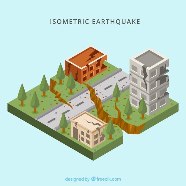Concepto isométrico de terremoto vector gratuito