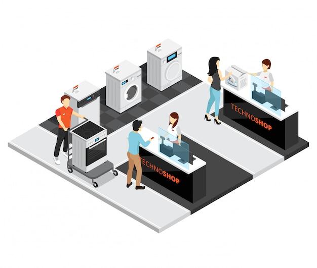 Concepto isométrico de la tienda de electrodomésticos vector gratuito