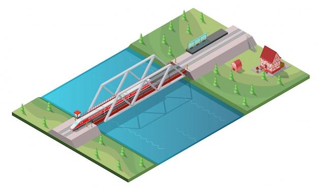Concepto isométrico de tren de alta velocidad de pasajeros vector gratuito