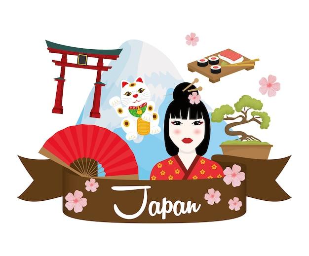 Concepto de japón con diseño de icono de cultura Vector Premium