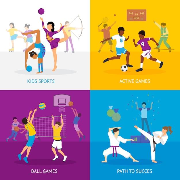 Concepto de juegos deportivos vector gratuito