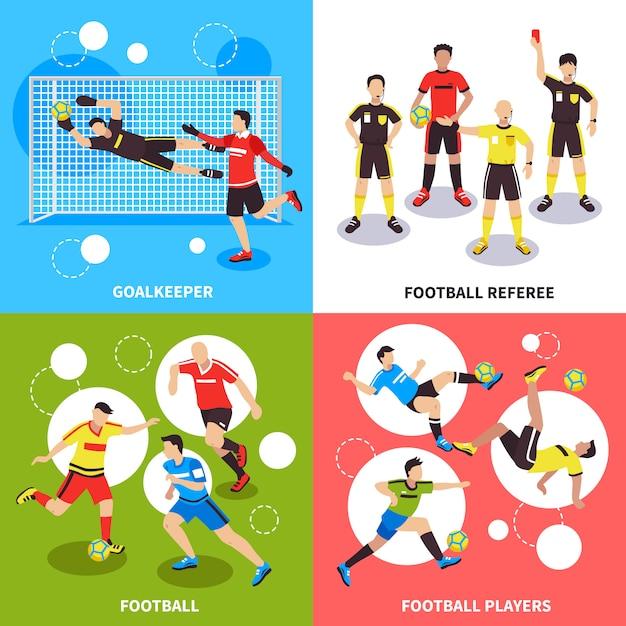 Concepto de jugadores de fútbol vector gratuito