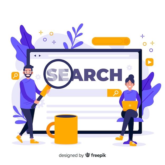 Concepto para landing page de búsqueda vector gratuito