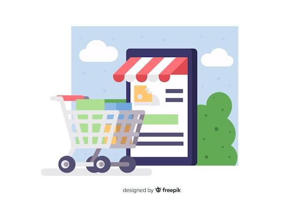 Concepto para landing page de compras online vector gratuito