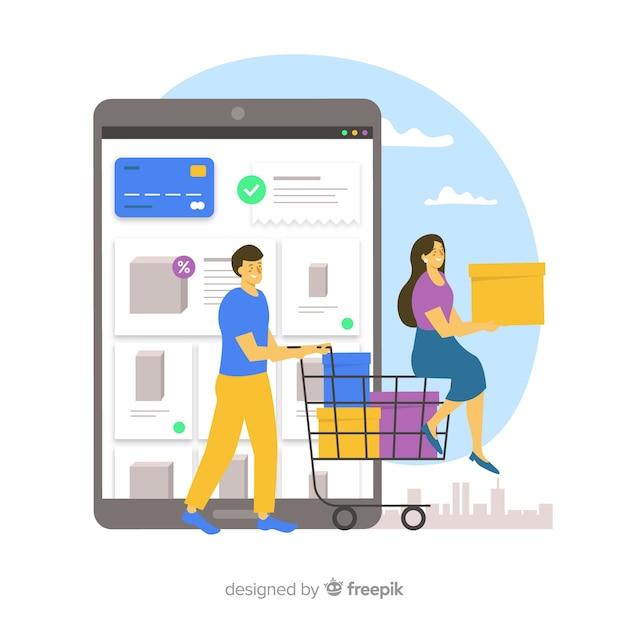 Concepto de landing page de compras online vector gratuito
