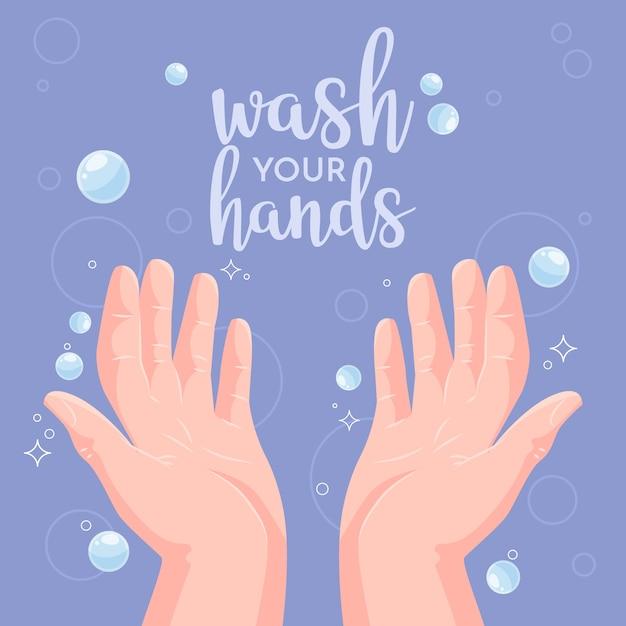 Concepto de lavarse las manos Vector Premium