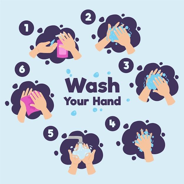 Concepto de lavarse las manos vector gratuito