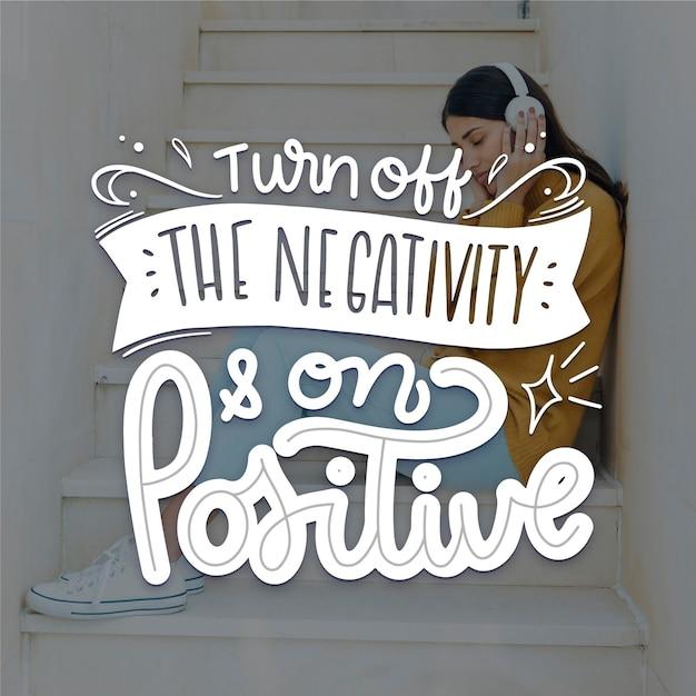 Concepto de letras de mente positiva Vector Premium