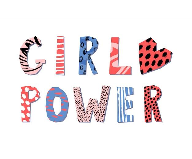 Concepto de letras de poder de chica. lema feminista. imprimir para póster o diseño de ropa. Vector Premium