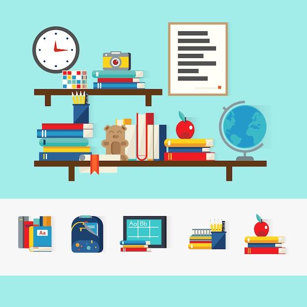 Concepto de libros escolares vector gratuito