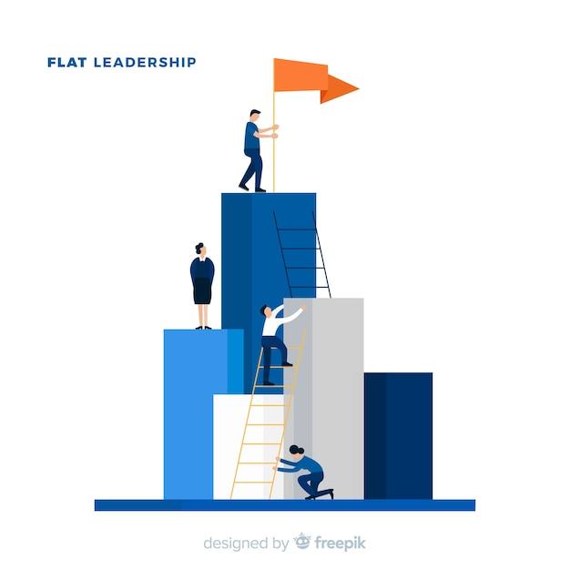 Concepto de liderazgo en estilo flat vector gratuito