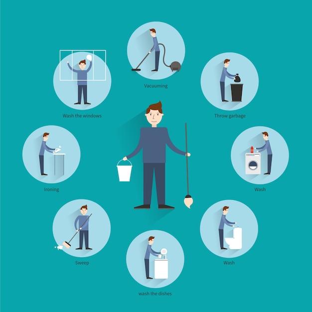 Concepto de limpieza de personas vector gratuito