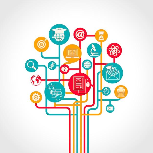 El concepto en línea del árbol de la educación con los iconos de los recursos de entrenamiento del aprendizaje electrónico vector el ejemplo vector gratuito
