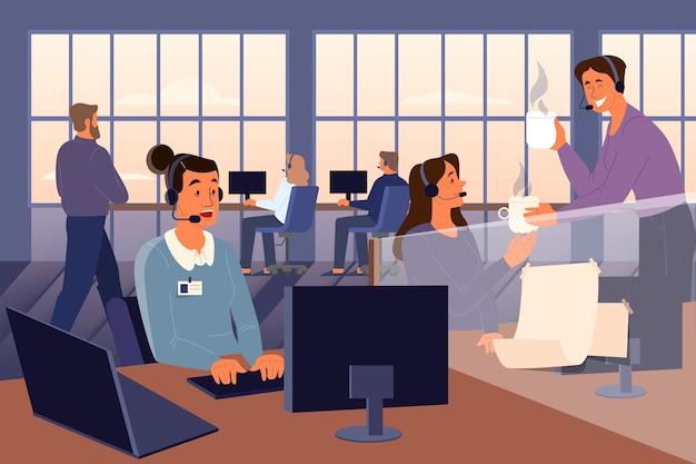 Concepto de línea directa de apoyo psicológico. oficina del servicio de asistencia psicológica. los voluntarios ayudan a las personas con sus problemas. concepto de salud mental. ilustración Vector Premium