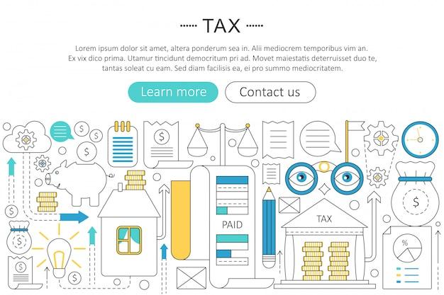 Concepto de línea plana impuestos, pagar impuestos Vector Premium