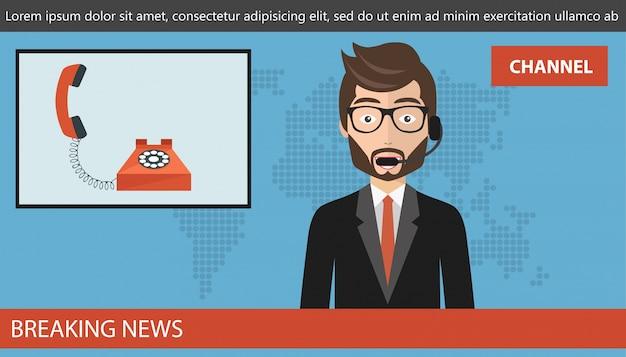 Concepto de llamada en vivo en las noticias vector gratuito