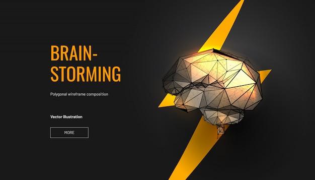 Concepto de lluvia de ideas. cerebro con estilo de estructura metálica de baja poli. concepto para lluvia de ideas, cerebro de poder Vector Premium