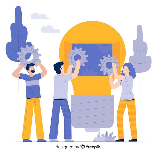 Concepto de lluvia de ideas para la página de destino vector gratuito