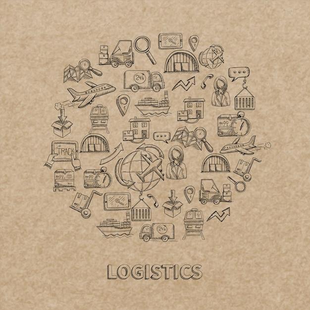 Concepto logístico con entrega de croquis y envío de iconos decorativos en ilustración de vector de fondo de papel vector gratuito