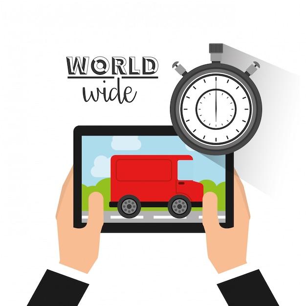 Concepto logístico a nivel mundial. Vector Premium