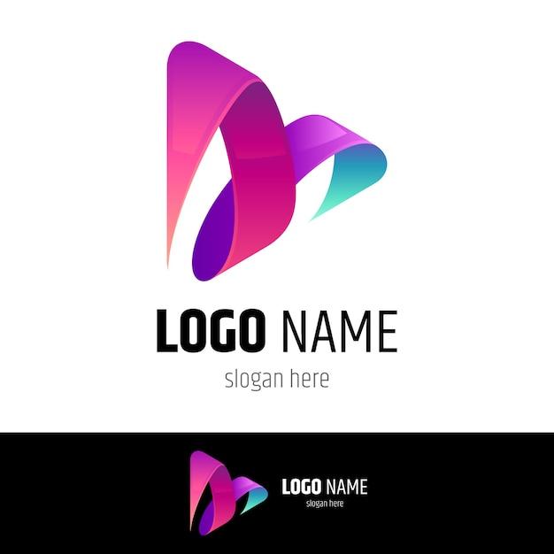 Concepto de logo de media play Vector Premium