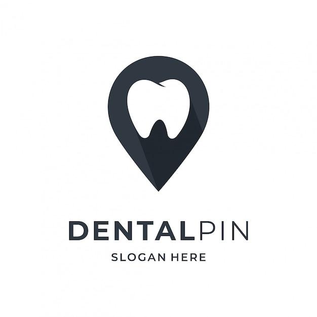 Concepto de logotipo dental con elemento de ubicación de pin. Vector Premium