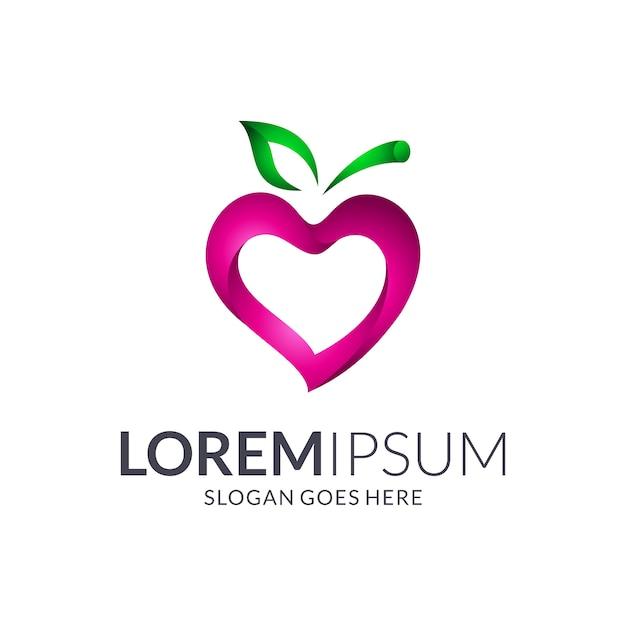 Concepto de logotipo de fruta de amor Vector Premium