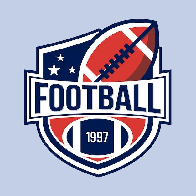 Concepto de logotipo de fútbol americano retro vector gratuito