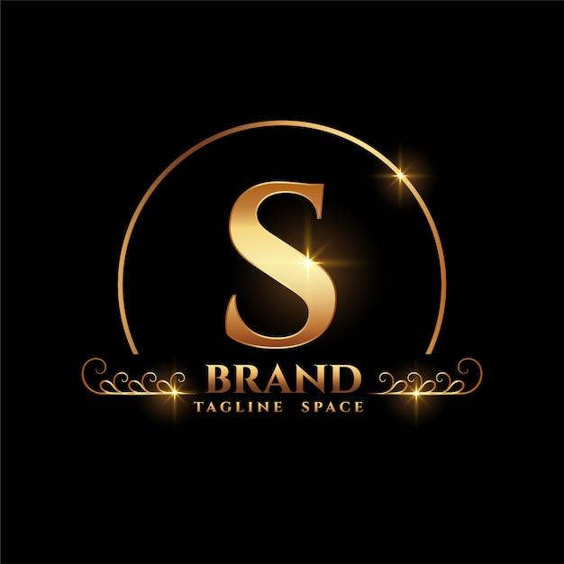 Concepto de logotipo de marca de letra s en estilo dorado vector gratuito