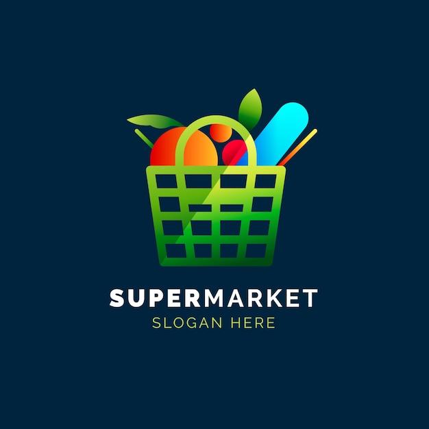 Concepto de logotipo de supermercado Vector Premium