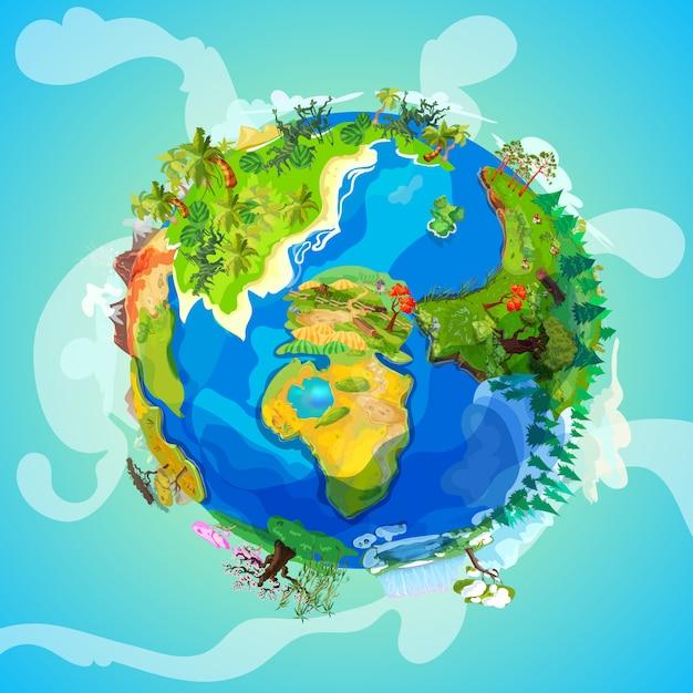 Concepto de luz de planeta tierra de dibujos animados vector gratuito