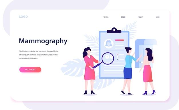 Concepto de mamografía. examen de mamas en la clínica, diagnóstico médico. ilustración con estilo Vector Premium