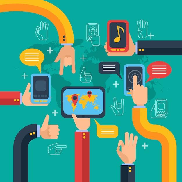 Concepto de manos y teléfonos con pantalla táctil. vector gratuito
