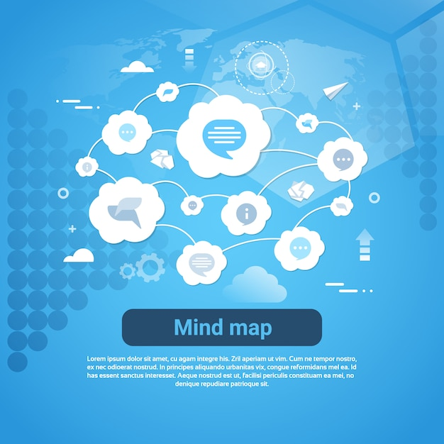 Concepto de mapa mental banner web con espacio de copia Vector Premium