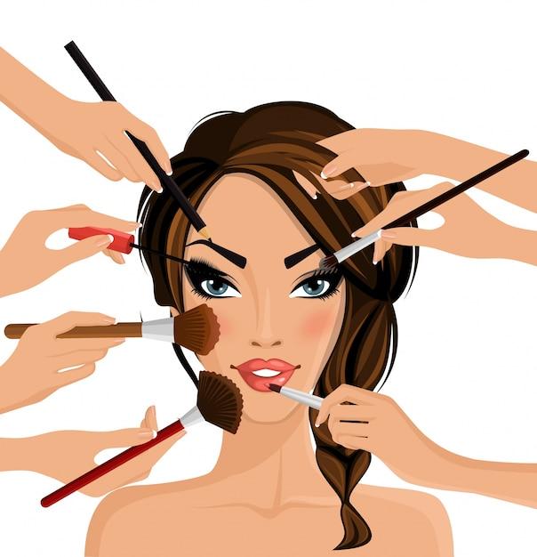 Concepto de maquillaje Vector Premium