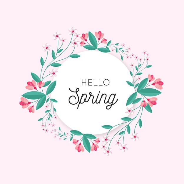 Concepto de marco floral de primavera plana vector gratuito