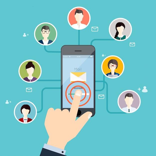 Concepto de marketing de campaña de correo electrónico, publicidad por correo electrónico, marketing digital directo. Vector Premium
