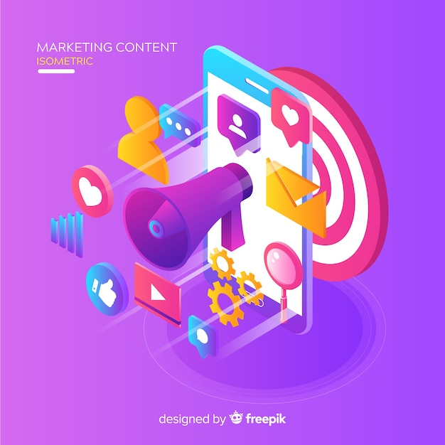 Concepto de marketing de contenidos vector gratuito