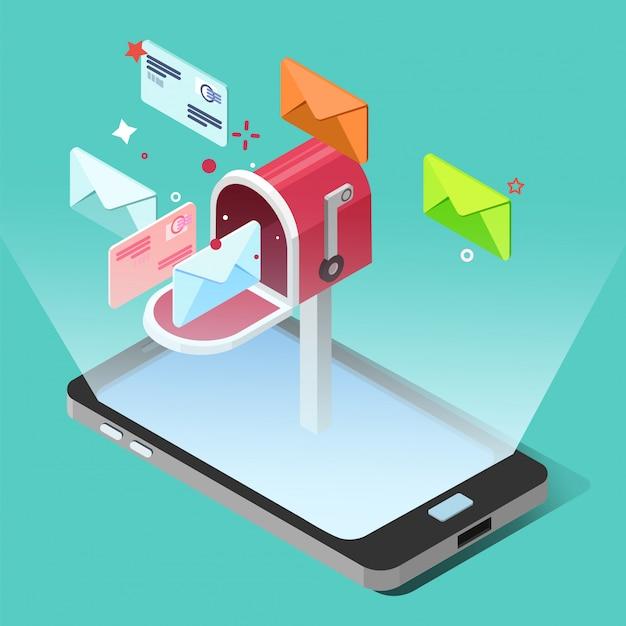Concepto de marketing por correo electrónico en estilo isométrico. teléfono inteligente con letras Vector Premium