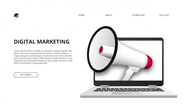 Concepto de marketing digital con ilustración de megáfono y dispositivo portátil 3d para promoción y publicidad en internet Vector Premium