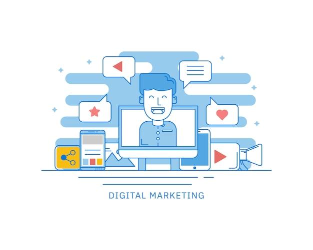 Concepto de marketing digital de internet para el concepto de página web. Vector Premium