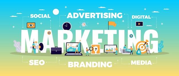Concepto de marketing digital con publicidad en línea y símbolos de medios planos vector gratuito
