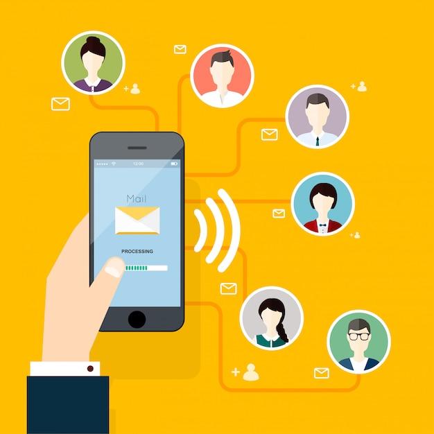 Concepto de marketing de ejecutar campañas de correo electrónico, publicidad por correo electrónico Vector Premium