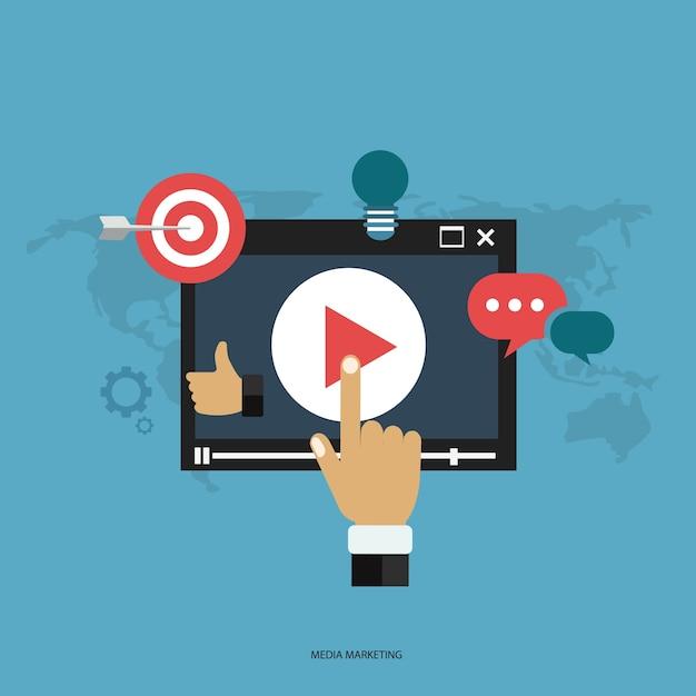 Concepto de marketing en medios vector gratuito
