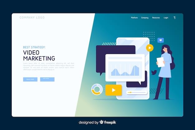 Concepto de marketing plantilla de página de destino vector gratuito