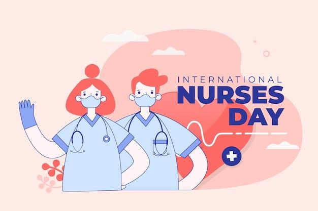 Concepto de máscaras y guantes del día internacional de la enfermera Vector Premium