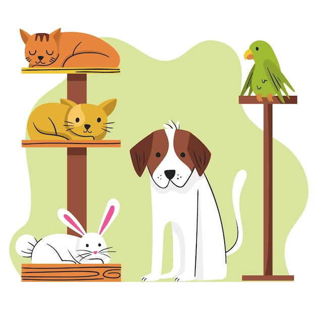 Concepto de mascotas diferentes vector gratuito
