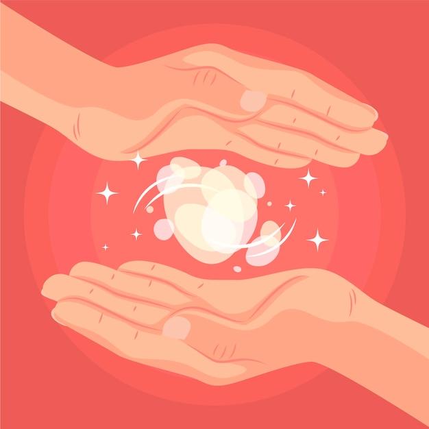 Concepto de medicina alternativa de manos curativas de energía vector gratuito