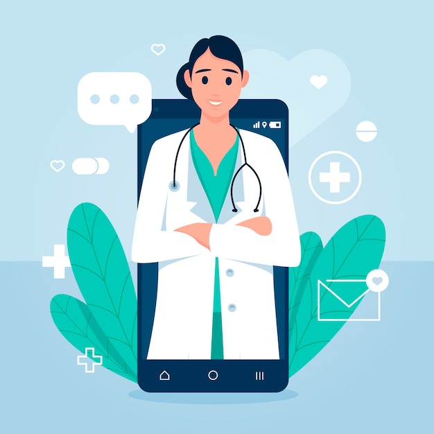 Concepto médico en línea Vector Premium